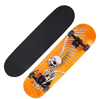 Double Warped Skateboard Beginner Children Longboard Skull Bird Yellow 802010cm : Sports & Outdoors