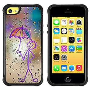 Jordan Colourful Shop@ Childrens Drawing Stickman Art Umbrella Rain Rugged hybrid Protection Impact Case Cover For iphone 5C CASE Cover ,iphone 5C case,iphone5C cover ,Cases for iphone 5C