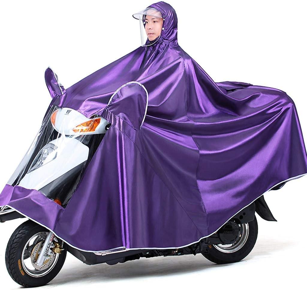 Cheng-chubasquero Visera Impermeable de la Motocicleta del Poncho del Montar a Caballo Solo Grueso con Las Tiras reflexivas (Color : A, Tamaño : 4XL Single)