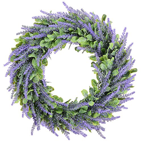 Lvydec Artificial Wreath, Door Wreath 16.5'' Lavender Spring Wreath Nearly Natural Round Wreath for the Front Door, Home Décor by Lvydec