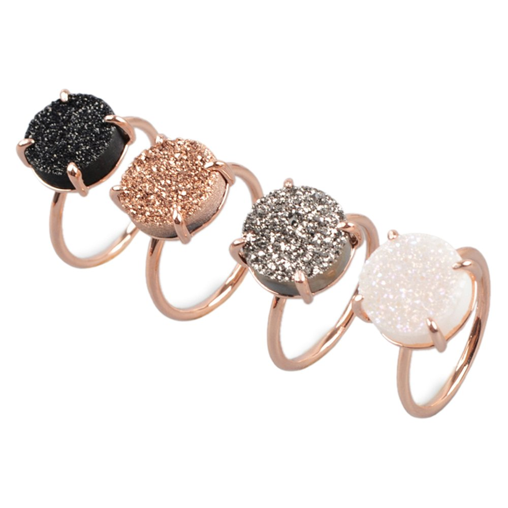 ZENGORI 1 Pcs 12mm Rose Gold Plated Black Natural Druzy Ring Size 7 for Best Promise Anniversary Wedding ZG0131-2D-BK