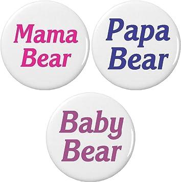 ea83bf6be Buy Set 3 Mama   Papa   baby Bear 2.25  Large Buttons Pins Mom Dad ...