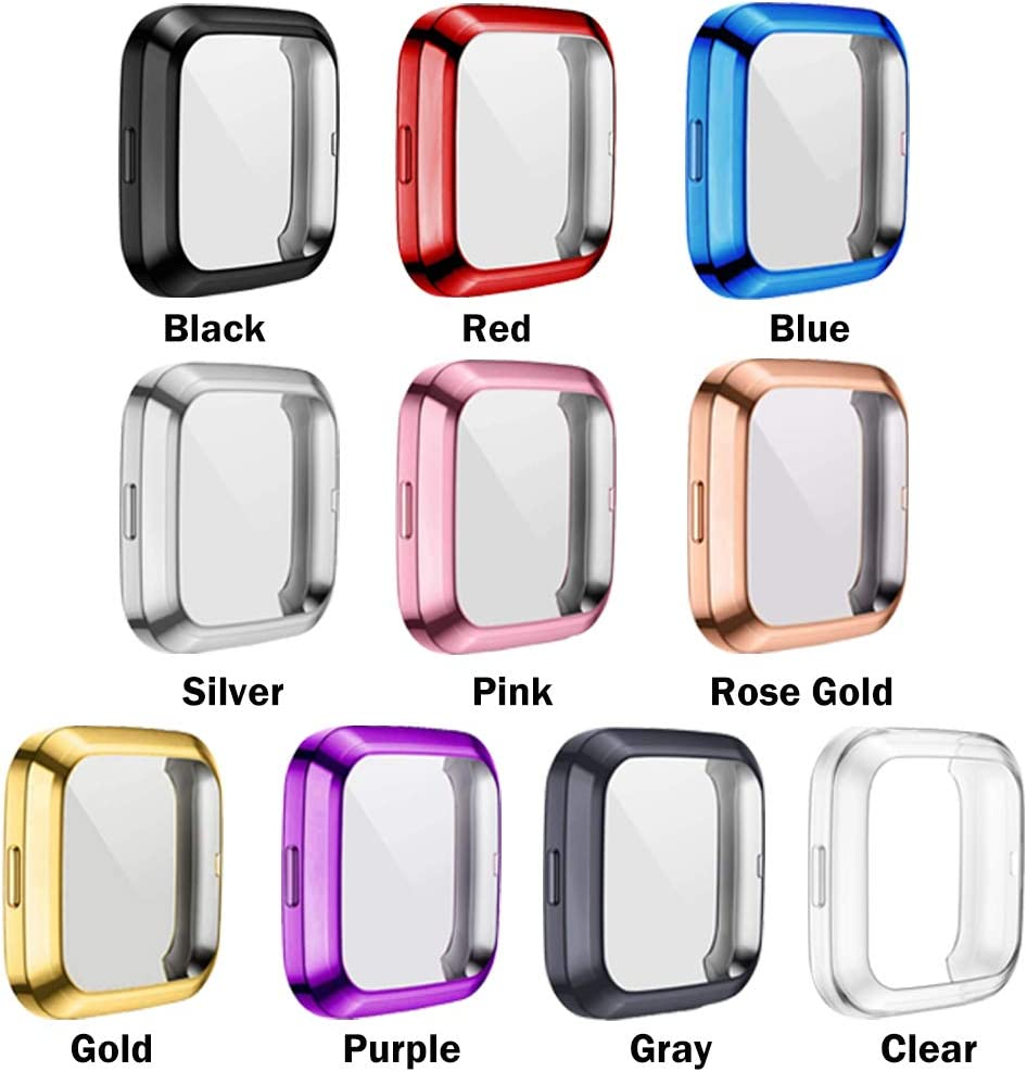 GGOOIG 3-Pack Screen Protector Case Compatible with Fitbit Versa 2 TPU Plated Slim Full Screen Protective Bumper Cover for Fitbit Versa 2 Smartwatch Black+Rose Gold+Clear