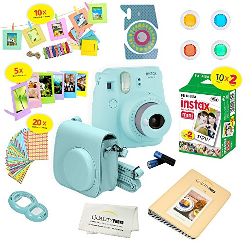 Fujifilm Instax Mini 9 Instant Camera ICE BLUE w/ Fujifilm Instax Mini 9 Instant Films (20 Pack) + A 14 Pc Deluxe Bundle For Fujifilm Instax Mini 9 Camera