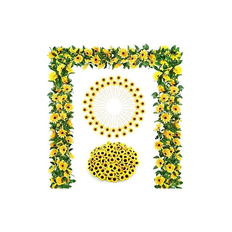 silk flower arrangements auihiay sunflower wedding decorations with 2 artificial sunflower garland,100 silk sunflower heads, 48 sunflower cupcake toppers for home wedding baby shower decoration