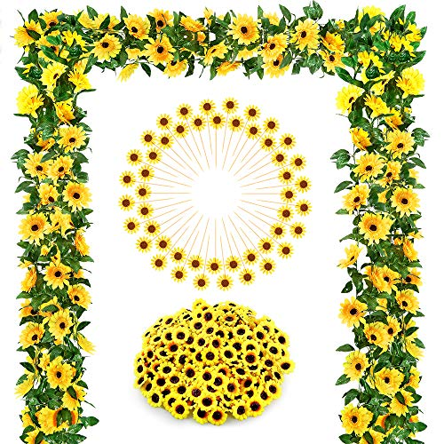Sunflower Cake Decorations (Auihiay Sunflower Wedding Decorations with 2 Artificial Sunflower Garland, 100 Silk Sunflower Heads, 48 Sunflower Cupcake Toppers for Home Wedding Baby Shower)
