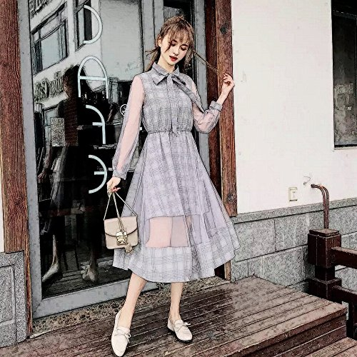Retro Jupe Premier Grille Robe M Manches Longue Robe Courtes Robe Gris Robes Amour MiGMV wIdq0pp