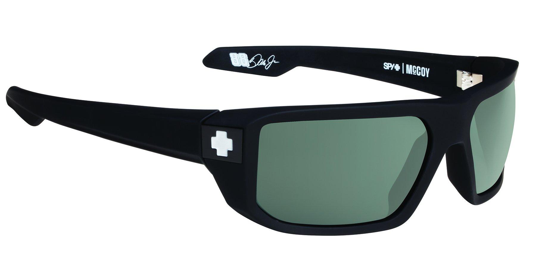 Spy Optic McCoy Flat Sunglasses, Soft Matte Black/Happy Gray/Green, 63 mm