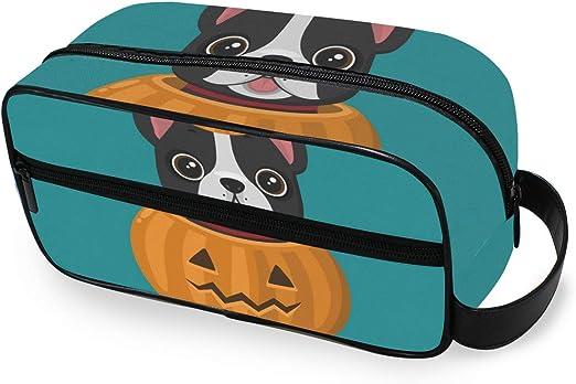 Bolsa de aseo Calabaza de Halloween Feliz Bulldog francés Herramientas Estuche de tren cosmético Almacenamiento Bolsa de maquillaje portátil Monedero Viaje: Amazon.es: Belleza