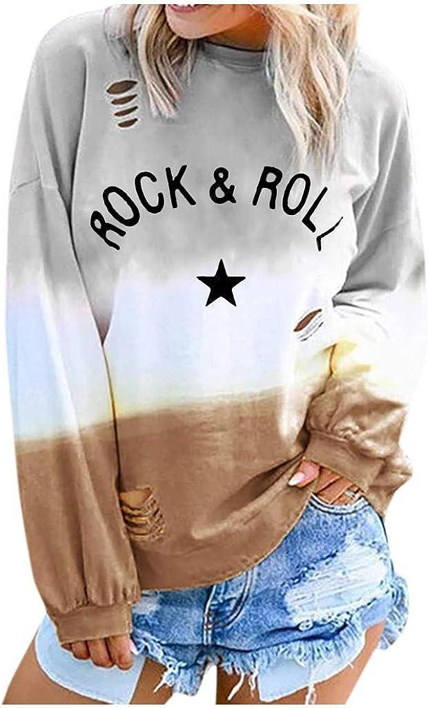 LENXH Women's Sweater Long-Sleeved Shirt Letter Printing Blouse Round Neck Gradient Shirt Fashion Casual T-Shirt