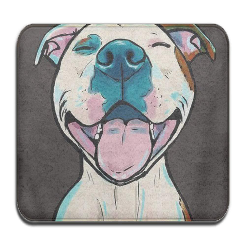 Memory Foam 1 Piece Bathroom Rug - Animals Cartoon Pit Bull Smile - Skidproof Non slip Bath Mat For Tub Spa Shower