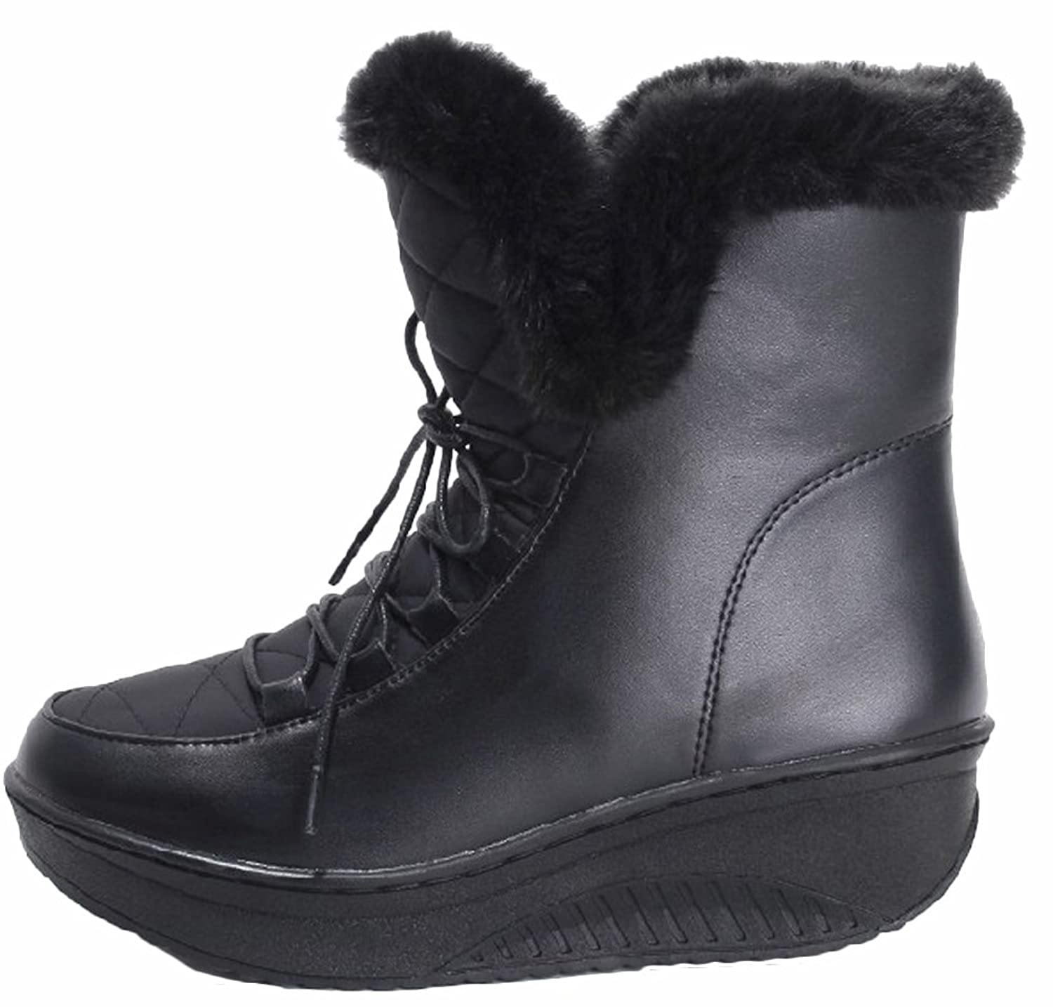 Ace Women's Winter Flat Mid-calf Thickened Thermal Snow Boots with Fur