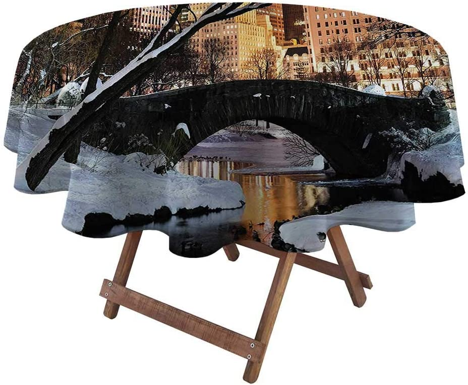"Round Table Cove NYC Decor Collection Christmas Tablecloth Round New York City Manhattan Central Park Lake Bridge in Freezing Winter at Dusk Panorama 70"" Diameter Brown Black White"