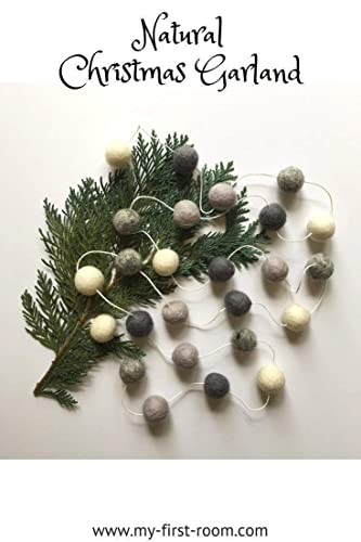 natural christmas garland decorationssilver greychoose your lengthfelt ball garland