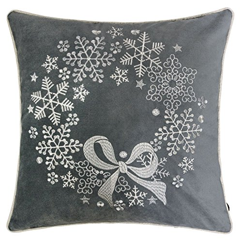 Homey Cozy Embroidery Gray Velvet Throw Pillow Cover, Merry Christmas Series Snowflake Floral Wreath Luxury Soft Fuzzy Cozy Warm Slik Gift Square Couch Cushion Pillow Case 20 x 20 Inch, Cover Only