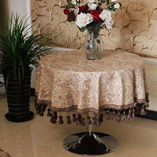 P&P Chenille European Style Round Tablecloth Home Dining Table Cloth Round Tea Cloth Khaki , 180cm , Khaki