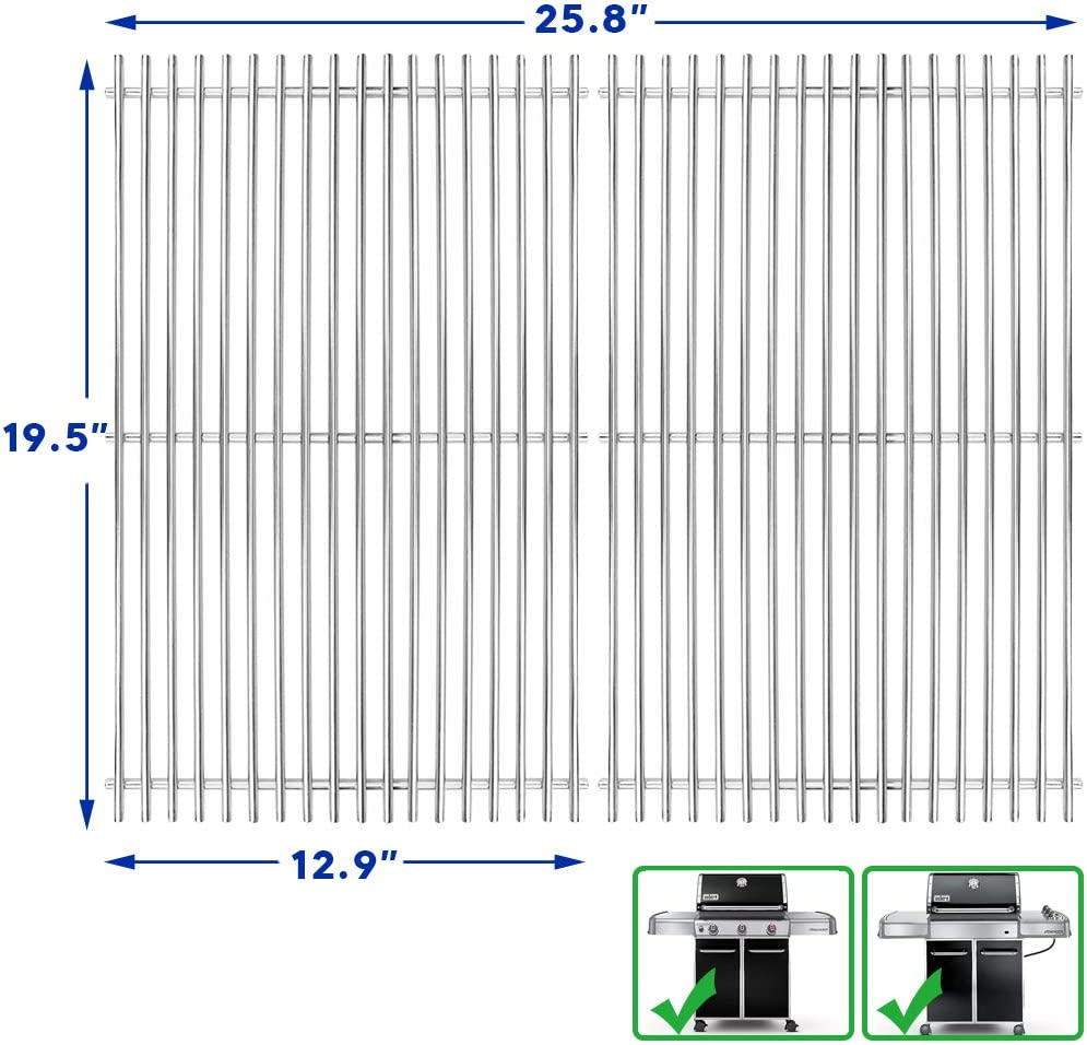 Uniflasy 19.5 Inch 304 Stainless Steel Cooking Grates for Genesis 300 Series, Genesis E310 E320 E330 S310 S320 S330, Weber Genesis Grill Parts Replacement for Weber 7528 7524, 19.5""