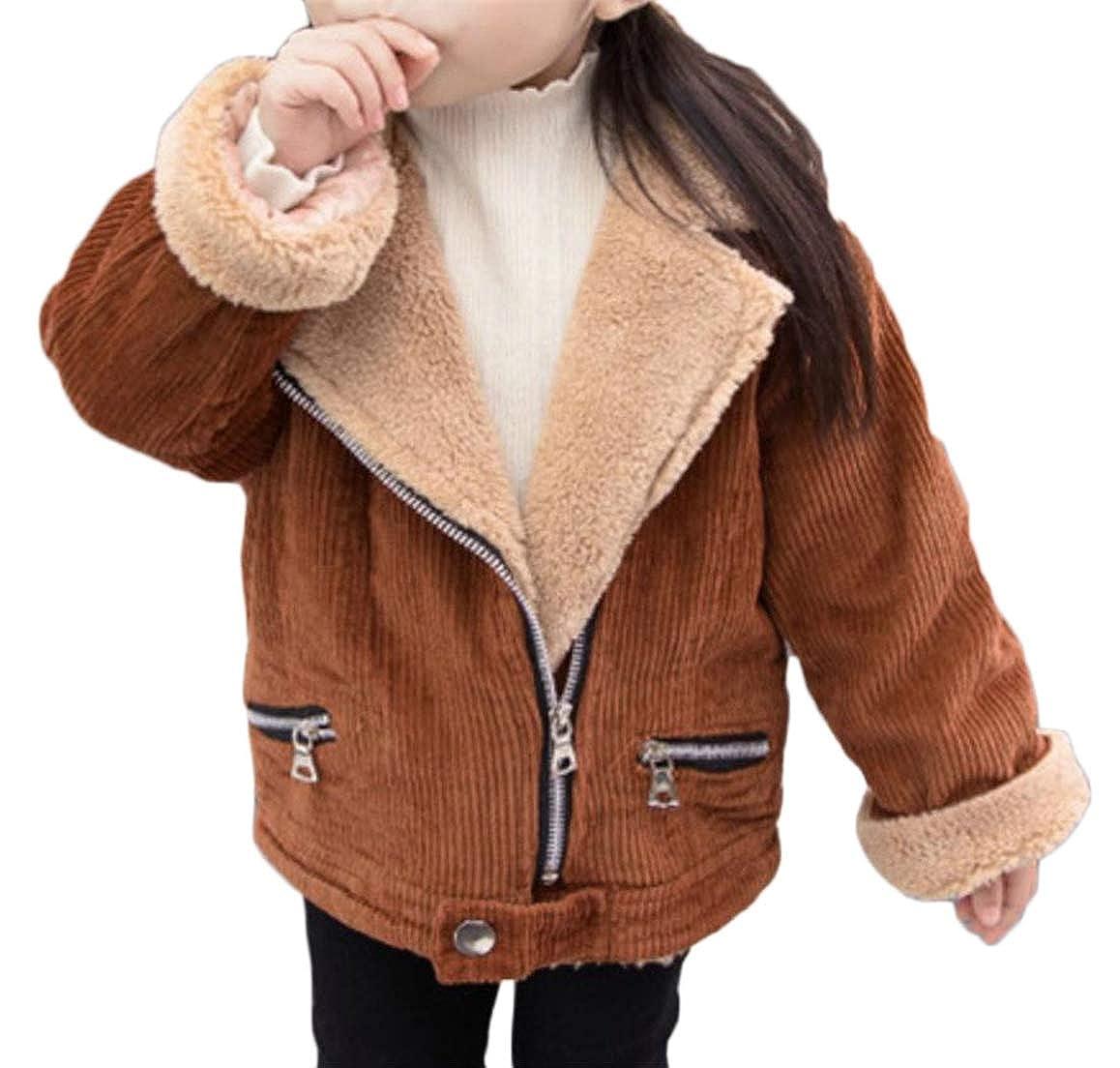 Cromoncent Girls Corduroy Lapel Sherpa Outdoors Fleece Parka Coat
