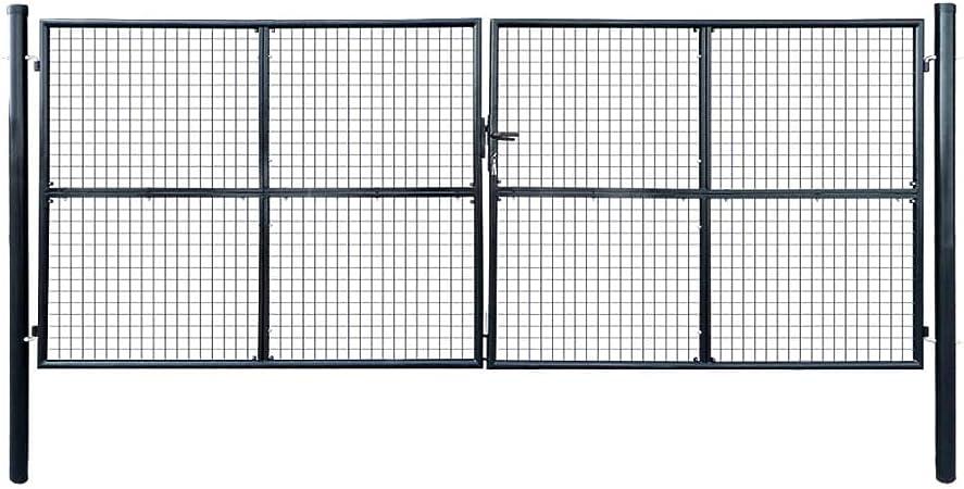 Puerta de Malla de jardín Acero galvanizado 400x150 cm Gris Bricolaje Vallas de jardín Puertas de jardín: Amazon.es: Hogar
