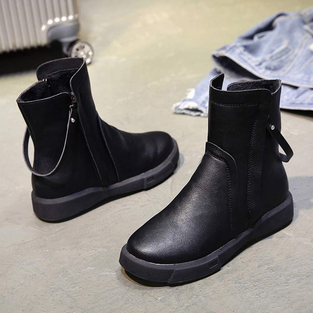Women Leather Boots,Fineser Clearance Women Flat Zipper Short Tube Boots Vintage Martin Boots Short Plush Suede Flock Boots