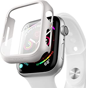 pzoz Compatible Apple Watch Series 6/5 /4 /SE 40mm Case with Screen Protector Accessories Slim Guard Thin Bumper Full Coverage Matte Hard Cover Defense Edge for Women Men New Gen GPS iWatch (White)