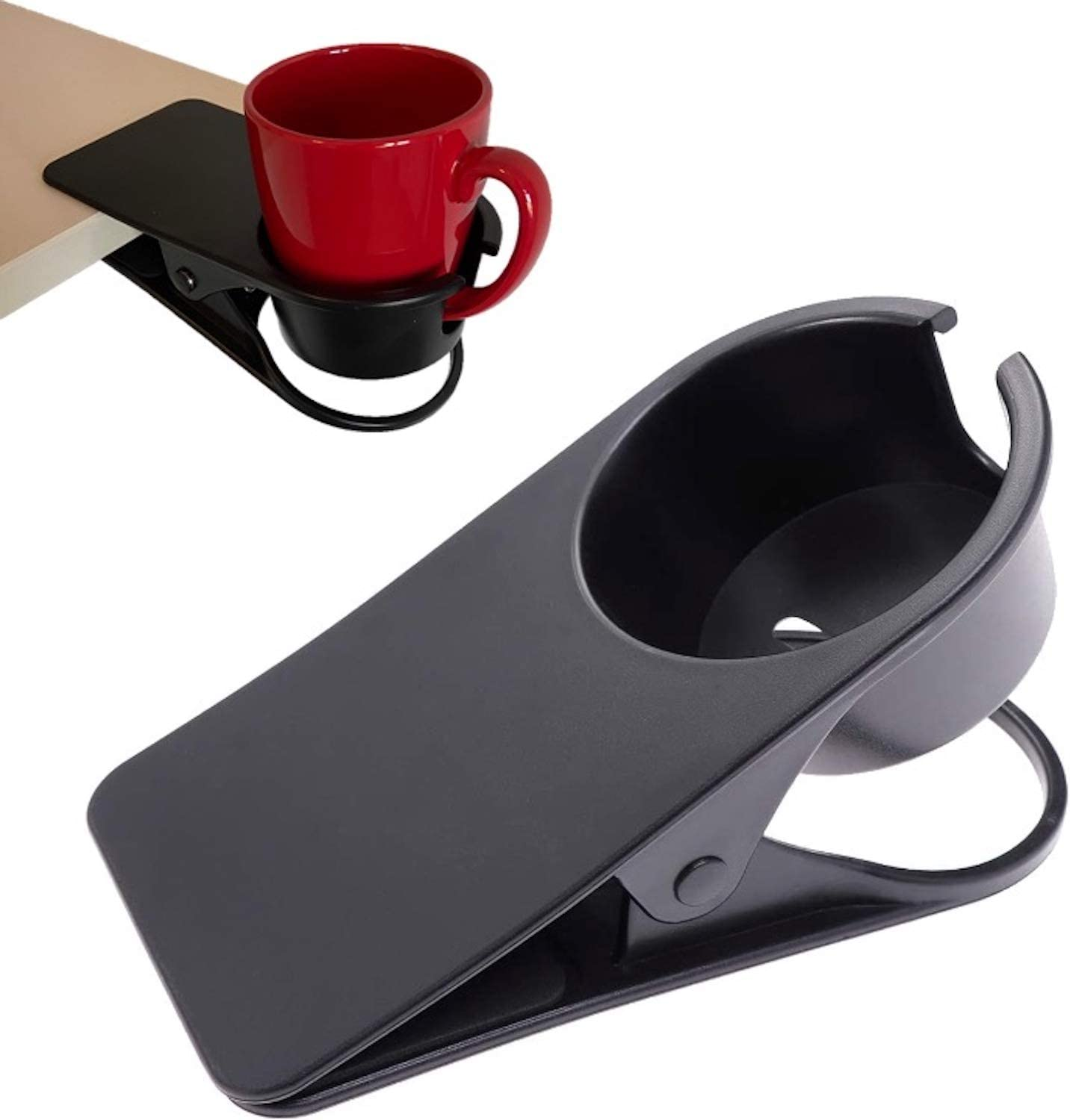 SMAHT Sturdy Clamp On Cup Holder For Table - Desk Cup Holder Clamp For Cups, Water Bottles, Soda Cans Coffee Mugs - Table Cup Holder For Desk To Save Valuable Desk Space - Clip On Cup Holder For Chair