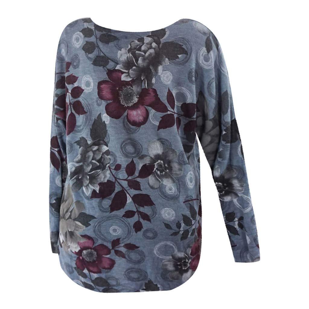 Kiminana Fashion Plus Size Women Casual O-Neck Print Long Sleeve Blouses Shirt Tops