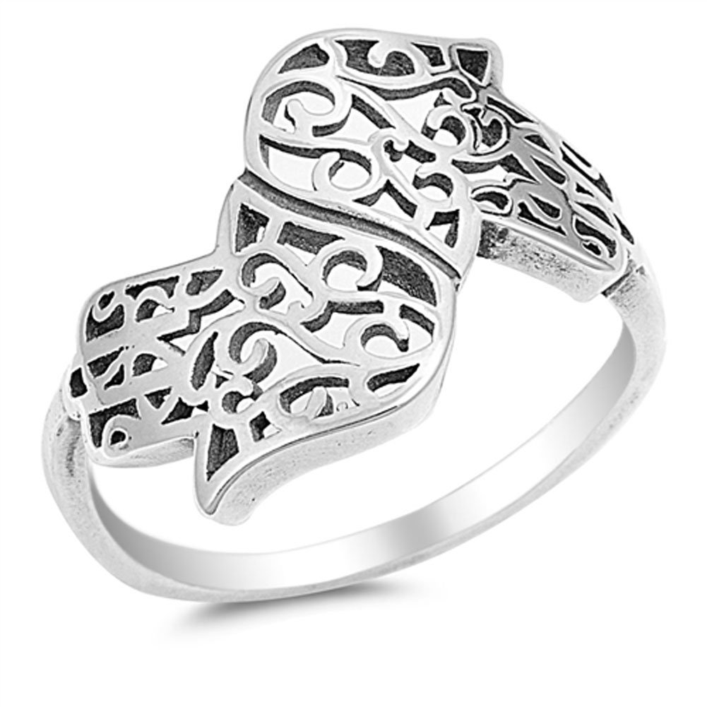 Double Hand of God Filigree Hamsa Ring New .925 Sterling Silver Band Sizes 5-10 Sac Silver
