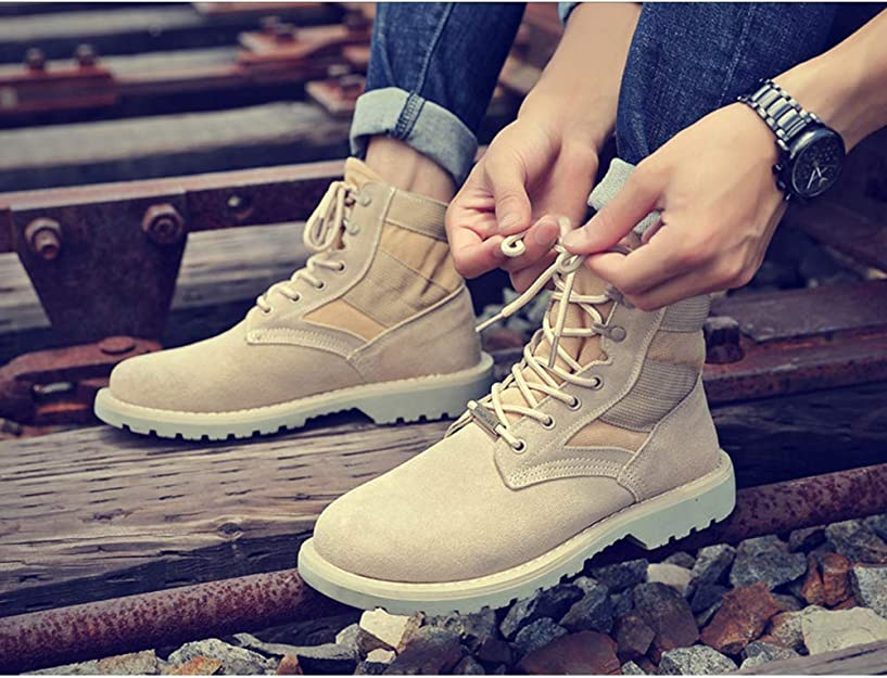 Padgene Mens Work Boots Water Resistant Suede Leather & Canvas Military Tactical Boots (9, Beige)