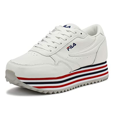 Amazon.com | Fila Orbit Zeppa F Womens White/Stripe Sneakers ...