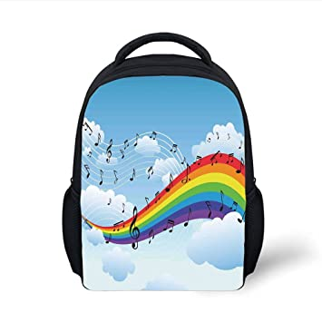 68c1c96934ad Amazon.com: iPrint Kids School Backpack Music Decor,Rainbow with ...