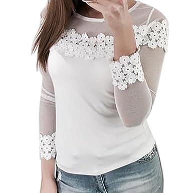LHWY Bluse Damen Elegant, Frauen Mesh Spitze Patchwork Elastic Pullover  Langarm Crop Shirt Tops Weiß 1f3d09cc2f
