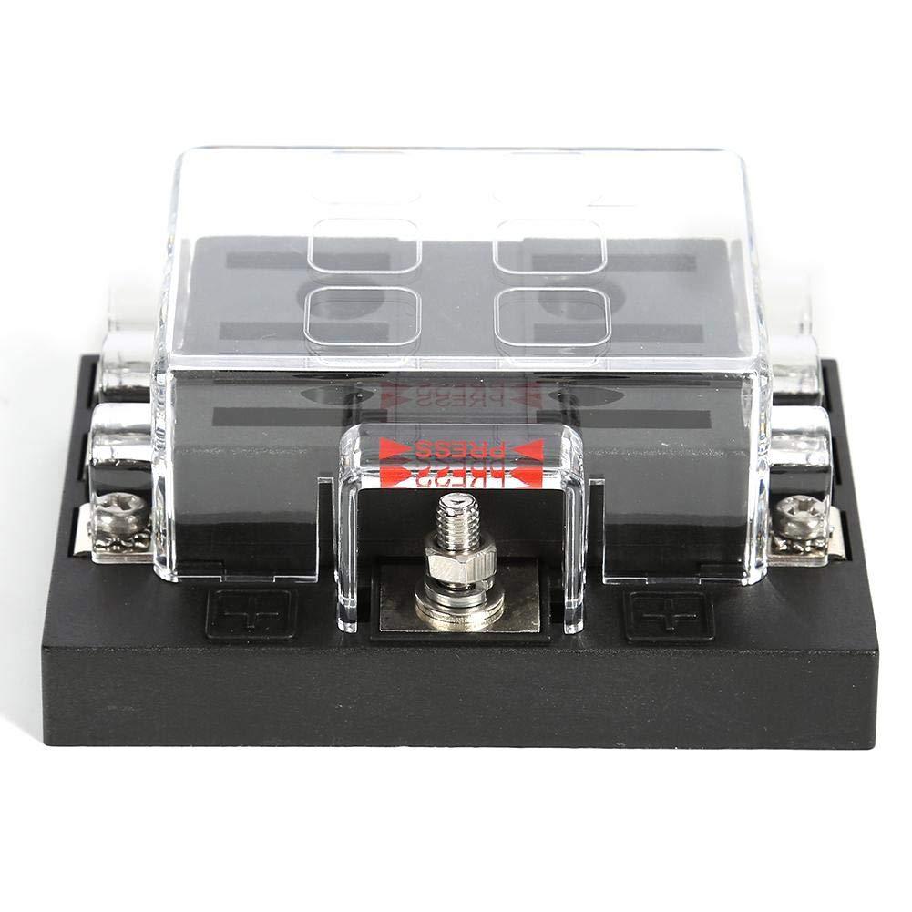 Matefielduk Caja de Fusibles para Coche,Portafusibles 8 V/ías Caja del Sostenedor del Fusible32V Caja con Tapa Transparente PC 83.00 * 92 * 40mm
