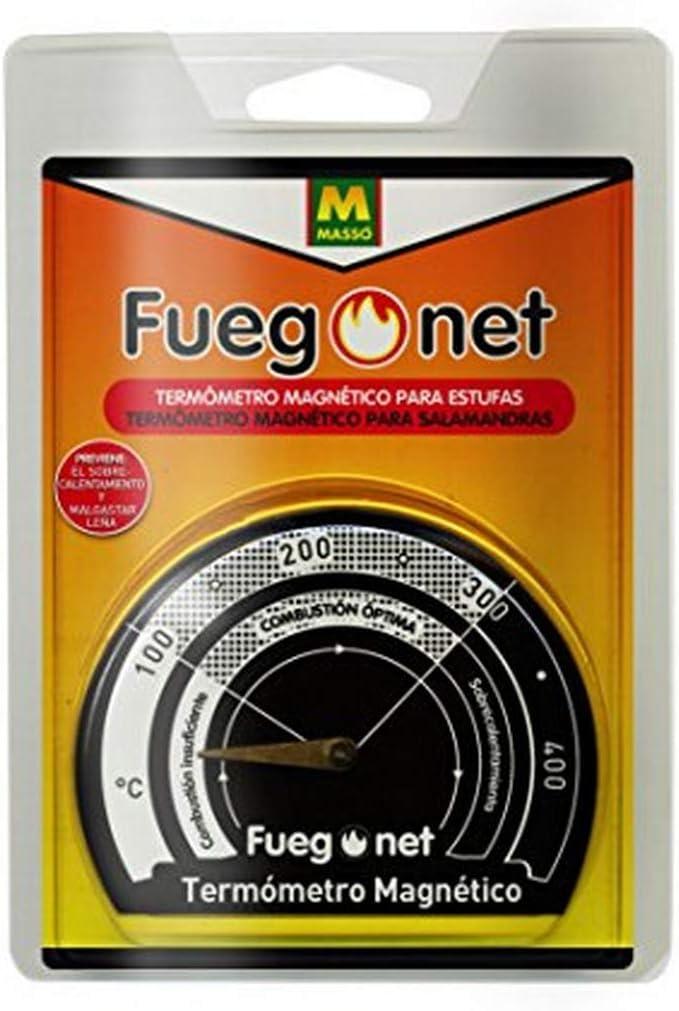 FUEGO NET Fuegonet 231301 Termómetro Magnético, Negro, 10.5x3x14.5 cm