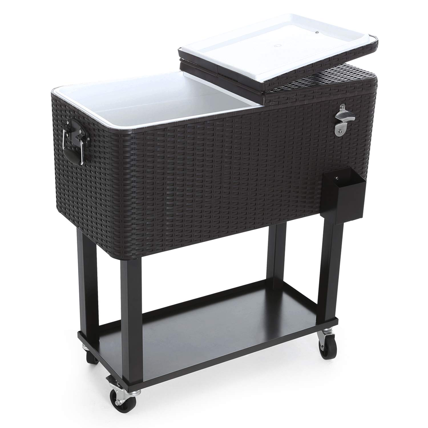 CAIDE-STORE with a Free Cover 80 Quart Outdoor Portable Cooler Patio Ice Chest Cooler Cart on Wheel