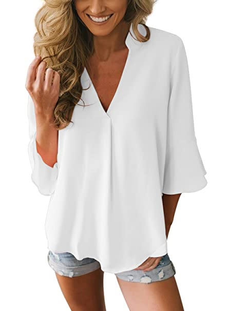 3e843a90bd49 Aleumdr Blusa Chiffon Donna Collo a V Tinta Unita  Amazon.it  Abbigliamento