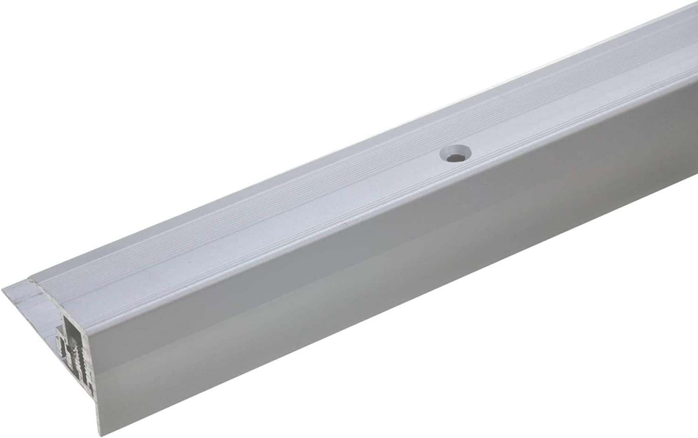 90cm silber * Rutschhemmend * Robust * Leichte Montage Treppenstufen-Profil aus Alu Treppenkanten-Profil Gelochtes Stufenkanten-Profil acerto 35804 Aluminium Treppenkantenprofil 7-15,5 mm