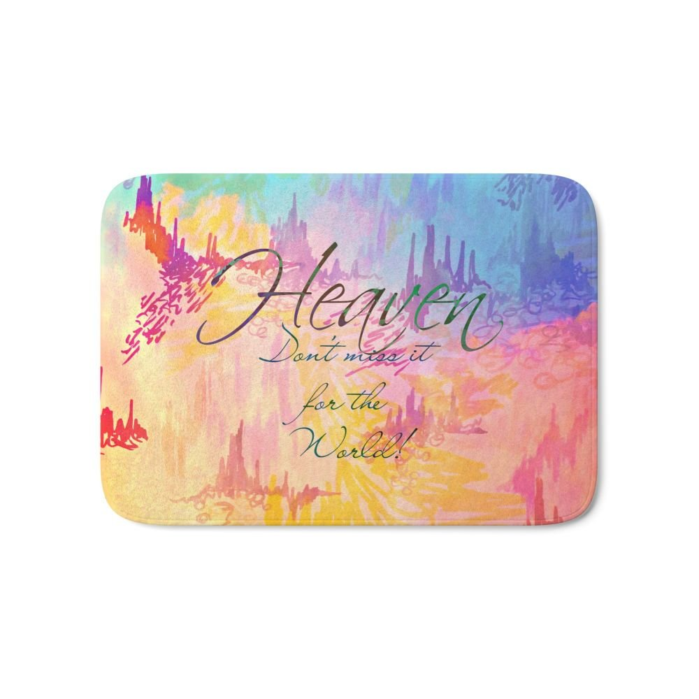 Society6 HEAVEN Don't Miss It For The World, Happy Watercolor Pastel Colorful Typography Christian Painting Bath Mat 21'' x 34''