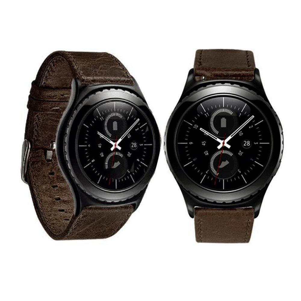 Band for Samsung Galaxy Watch,Thing-ning Luxury Leather Adjusted Watch Band Wrist Strap for Samsung Galaxy Gear S2 Classic Smart Watch (Brown)