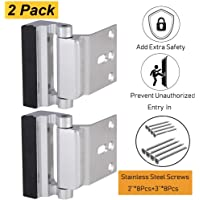 Home Security Door Lock,Child Proof Door Reinforcement Lock with Upgraded 3''Stainless Steel Screws for Inward Swinging Door, Night Lock Deadbolt Defend Home and Hotels(2Pack)