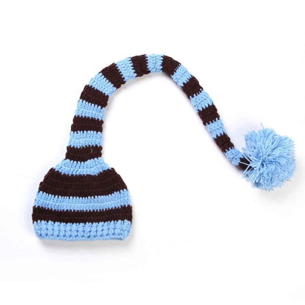 Tefamore Sombrero bebé recién nacido linda de cola larga gorras de punto traje de Fotografía Prop (Tamaño:1-3 meses, Azul claro) Tefamore 001