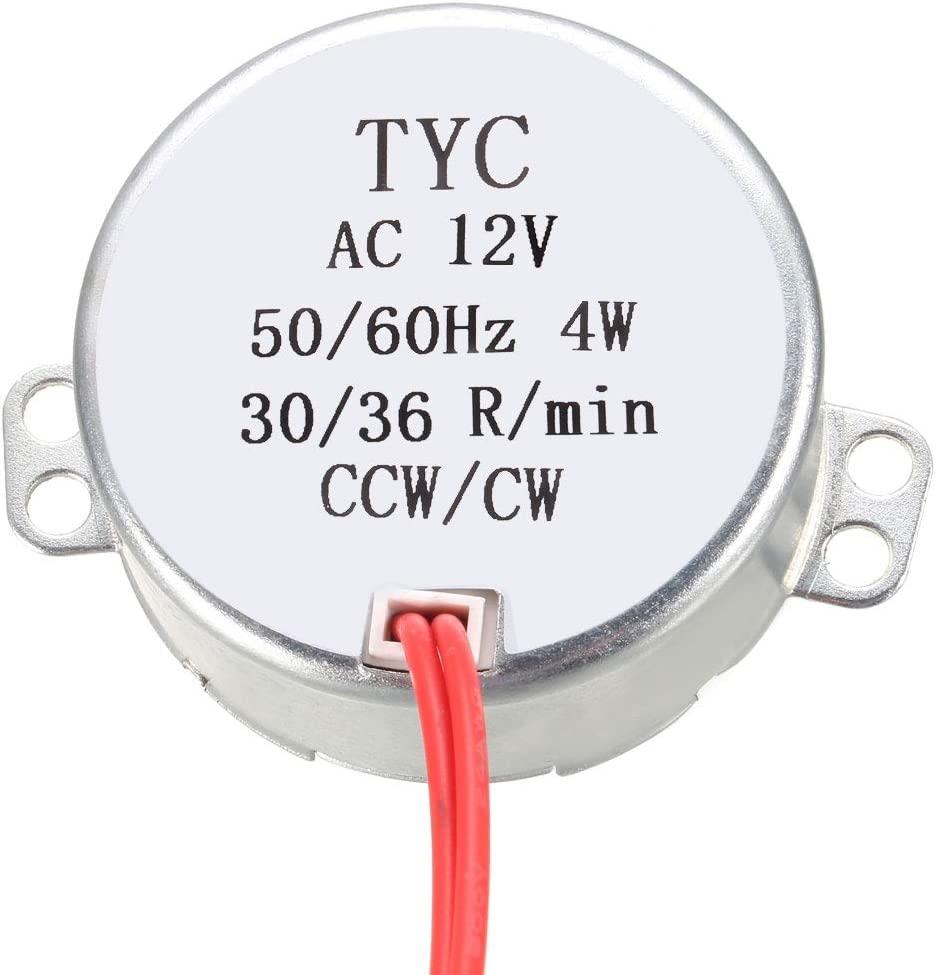 Synchronous Gear Motor AC12V 4-5RPM 6KGF.CM Torque CW//CCW Fan Heater Motor