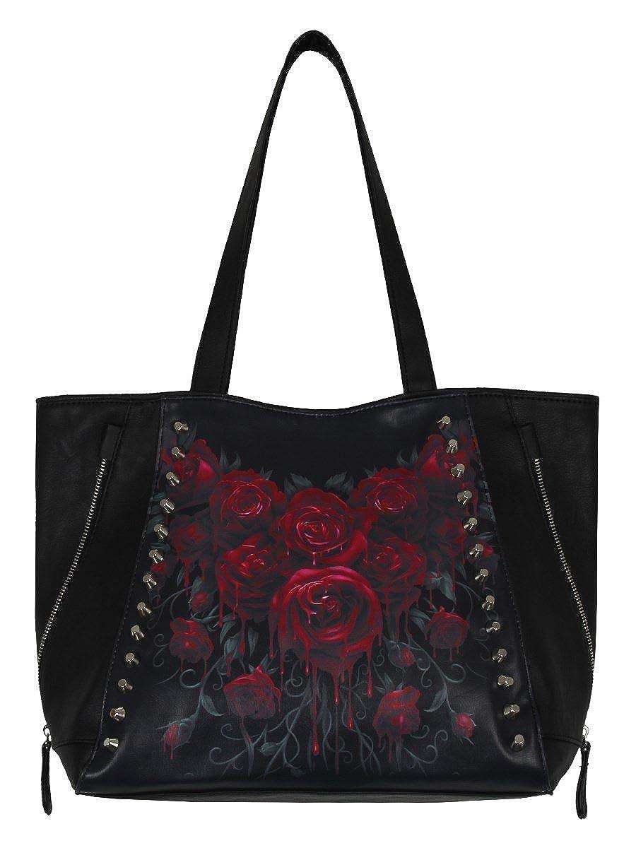 Noir Spiral Direct Blood Rose SAC a Main Fourre Tout Imprim/é Gothique Roses Et Clous