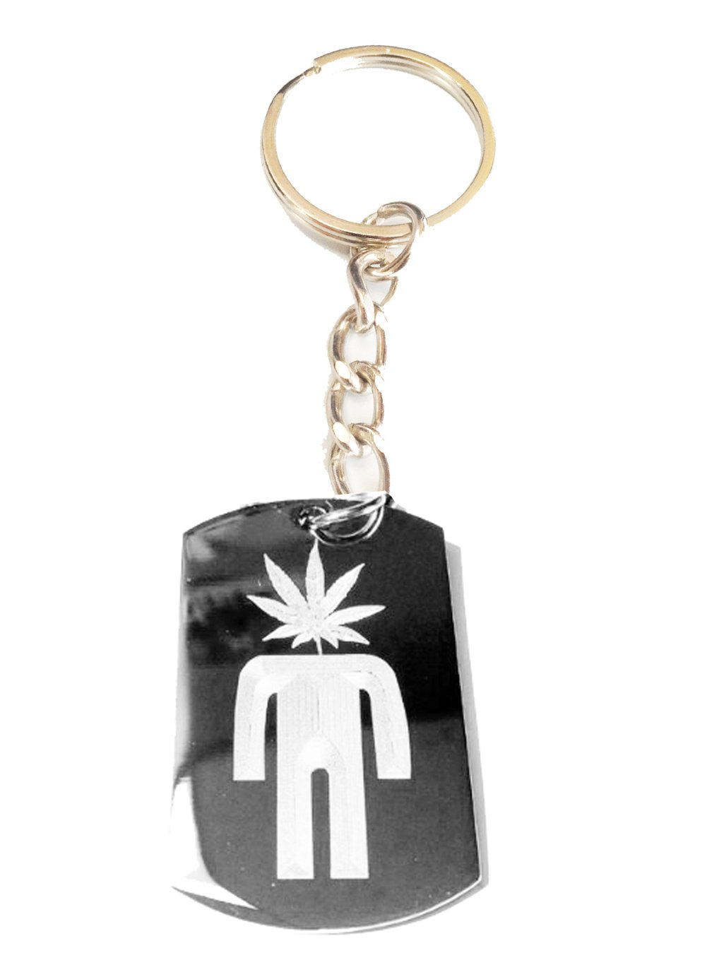 Marijuana Mary Jane Weed Leaf Ganja POT Head Logo Symbol Metal Ring Key Chain Keychain