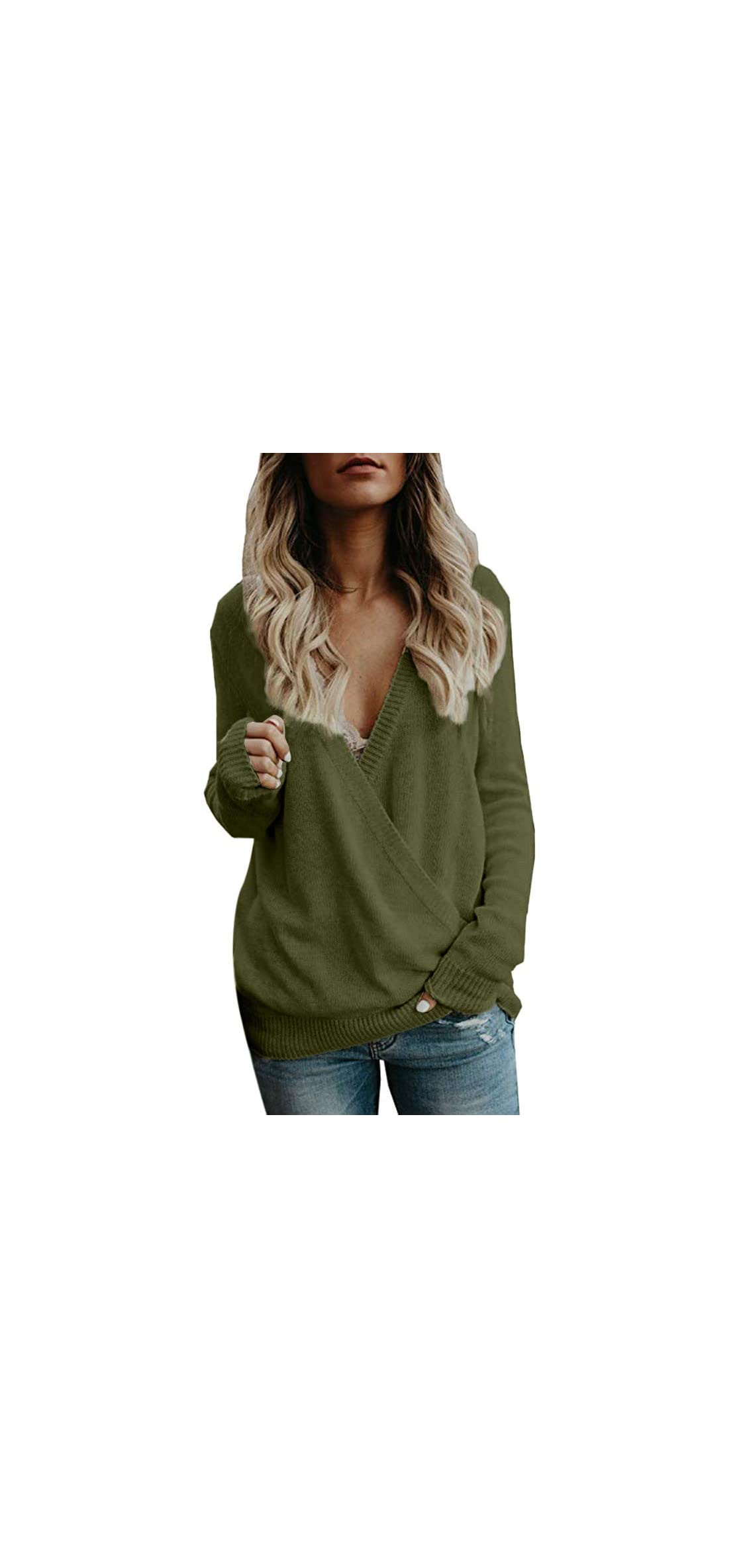 New Women's Hoodie Knitted Deep V-neck Long Sleeve Wrap