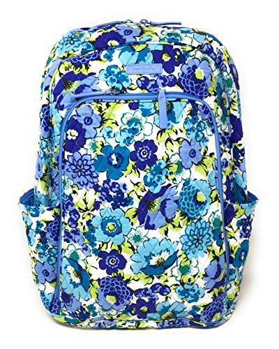 Vera Bradley Laptop Backpack (Updated Version) with Solid Color Interiors (Blueberry Blooms with Blue Interiors)