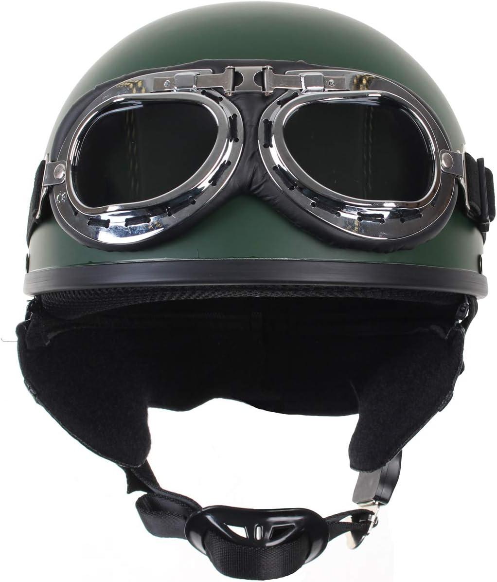 Mil-Tec Casco de moto con gafas Retro Vintage