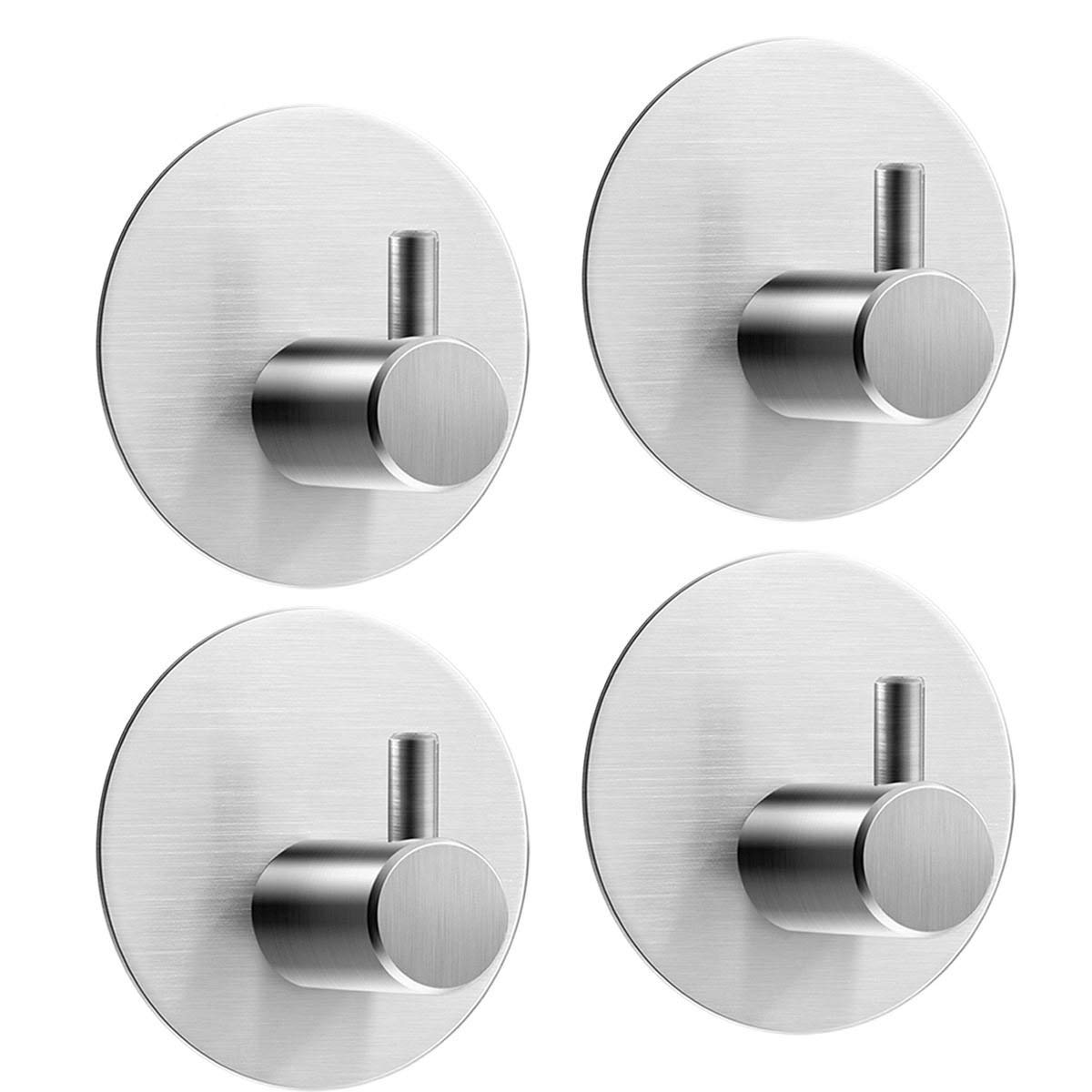 D.RoC Self Adhesive Towel Hooks 4 Pack Max 8kg Round Robe Holders Coat Stick-up Stainless Steel Waterproof 3M Door Command Hooks Hanger for Kitchen Bathrooms Lavatory Closets by D.RoC