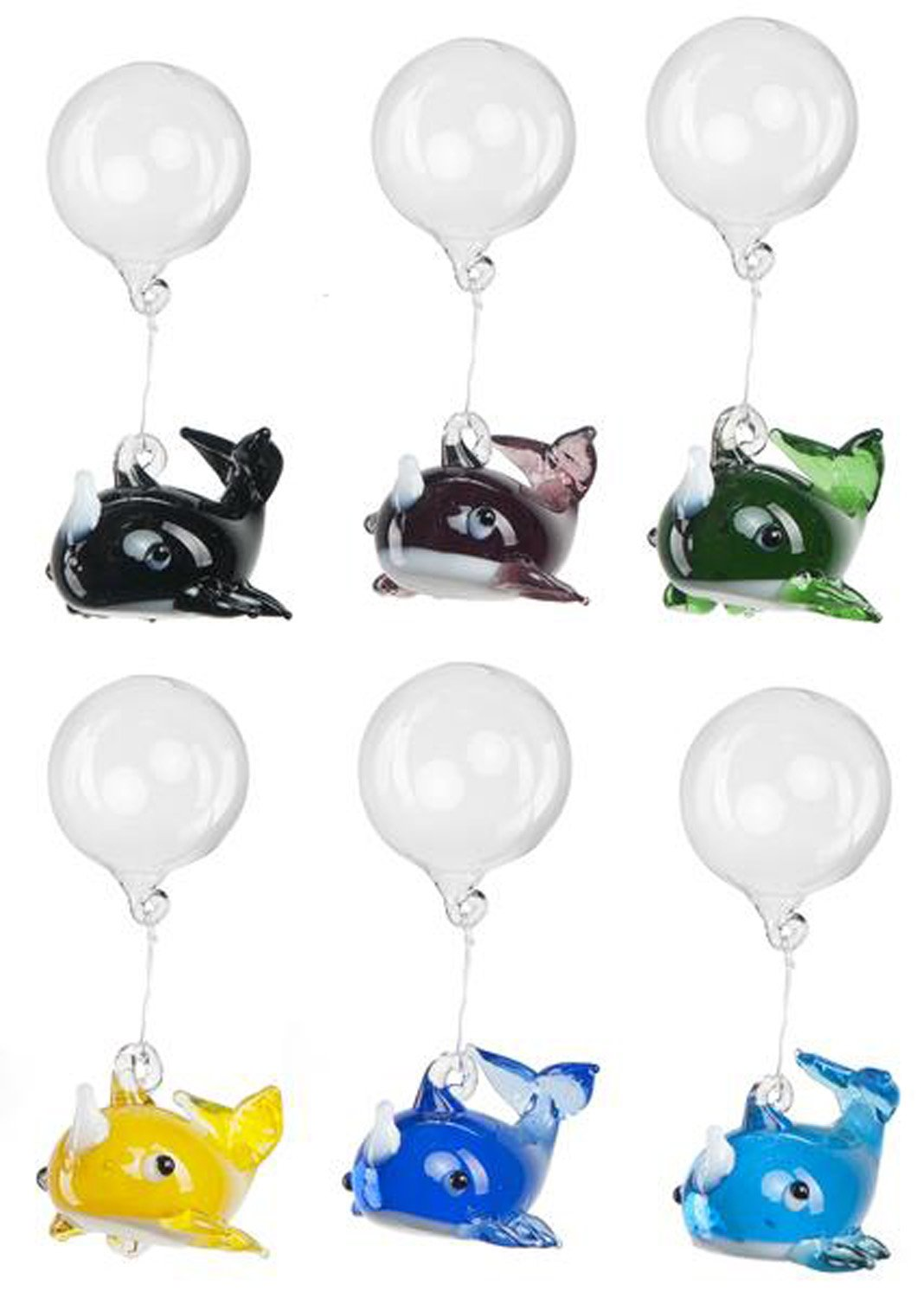 Colorful Whale Floating Glass Aquarium Charms Six Pack by Ganz