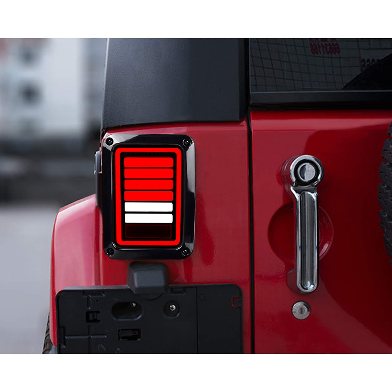 Pair 6 Bar Style ICARS Upgraded 2007-2018 Jeep Wrangler JK JKU Tail Lights Brake Lights LED Smoke Lens with Turn Signal Lights